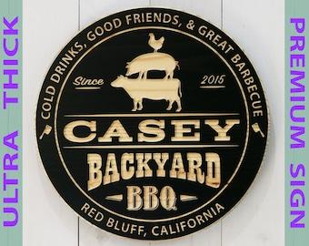 Premium Personalized Backyard BBQ Sign