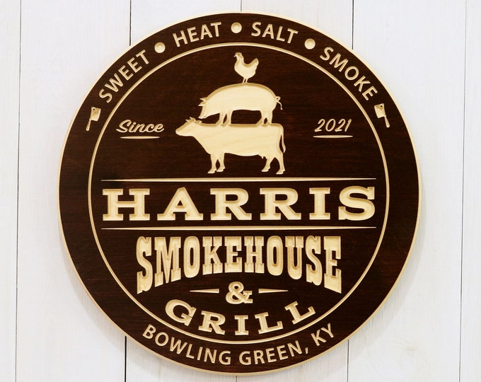 Personalized Smokehouse And Grill Sign