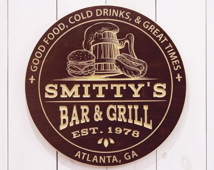 Personalized Bar And Grill Sign