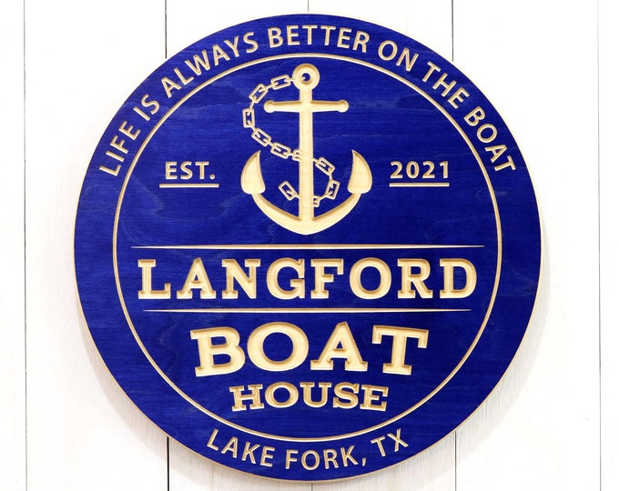 Personalized Boat House Sign