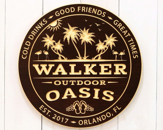 Personalized Outdoor Oasis Sign