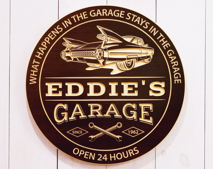 Personalized Garage Sign With Car