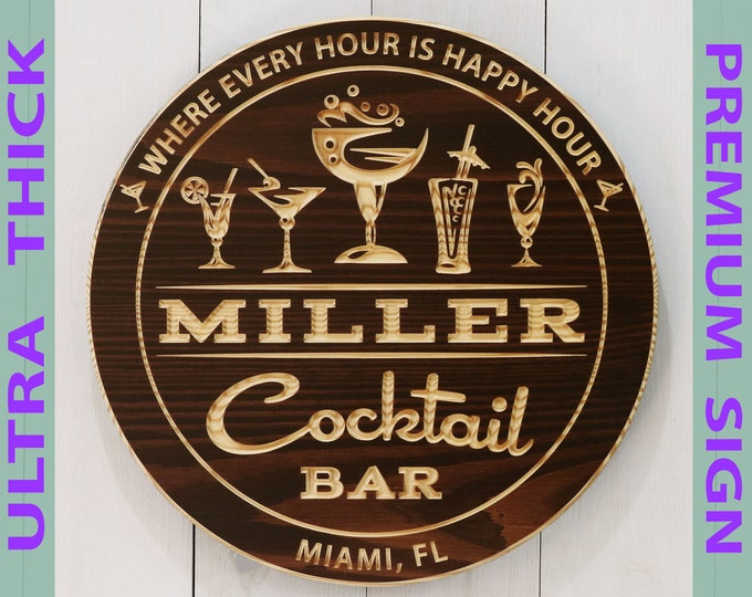 Premium Personalized Cocktail Bar Sign