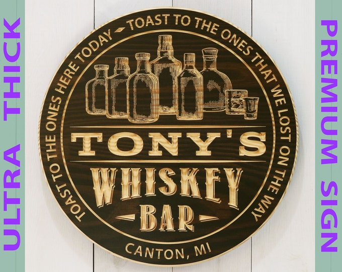 Premium Personalized Whiskey Bar Sign With Bottles