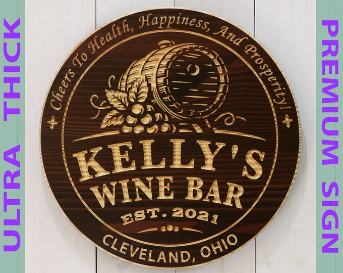 Premium Personalized Wine Bar With Barrel Sign