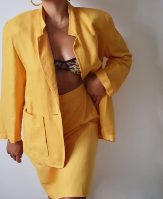 Vintage Amber Linen Skirt Suit