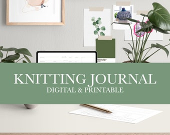 Knitting Journal for Project Notebooks or Digital Planners and Binders | Printable & Digital Versions | Clean and Simple Design