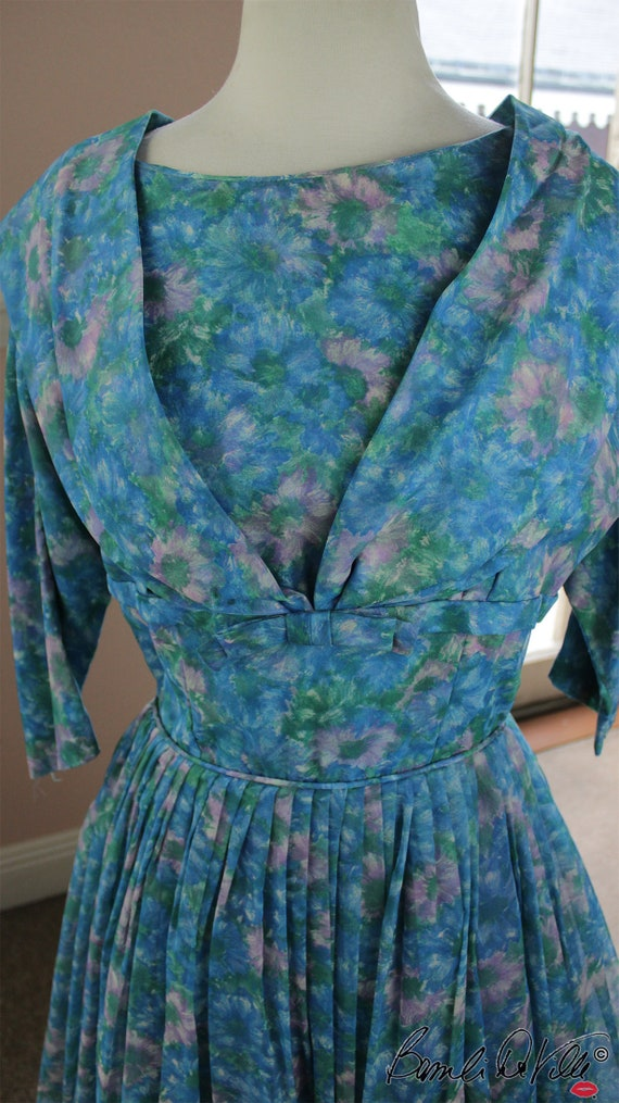 Chiffon Tulle 50s Party Dress Vintage - image 6