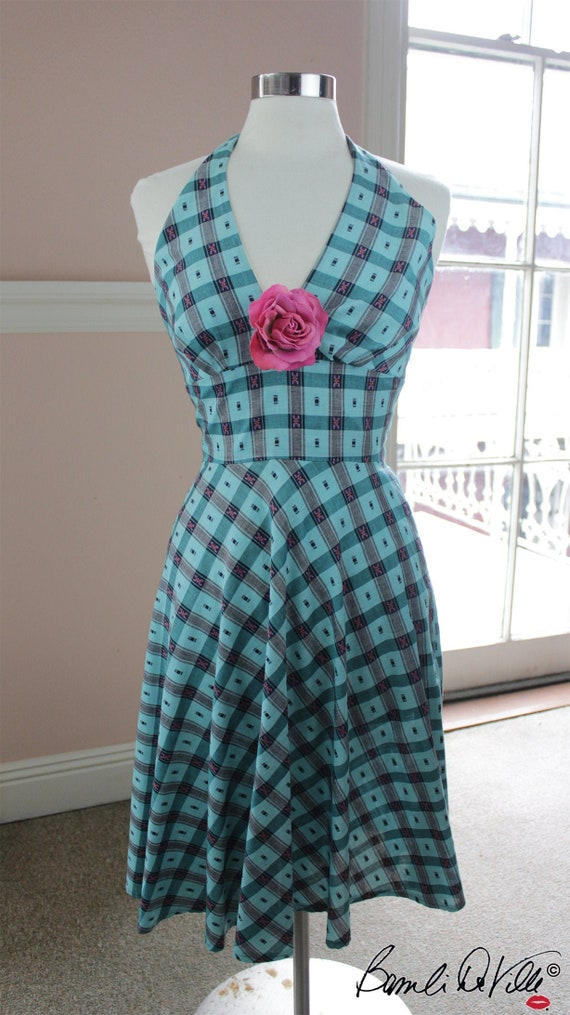 70s Halter Dress Small Turquoise