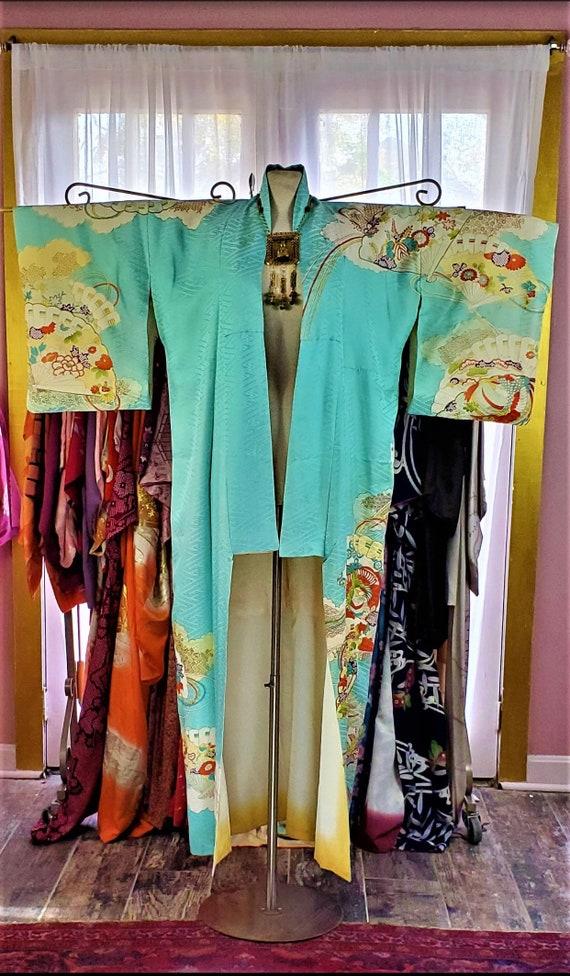 Turquoise Embroidered Vintage Kimono