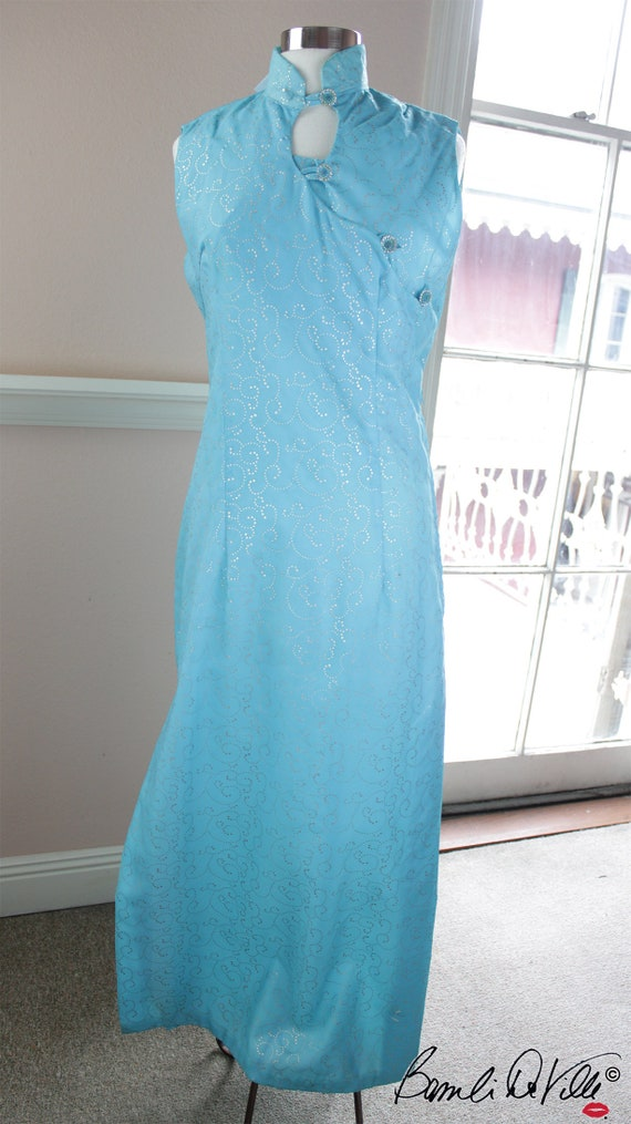 60s Blue Hostess Gown with Neru CollarXL Plus Vint