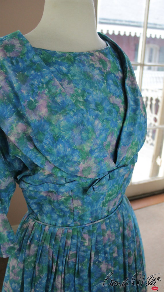 Chiffon Tulle 50s Party Dress Vintage - image 5