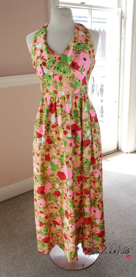 Vintage Halter Floral Dress 70s