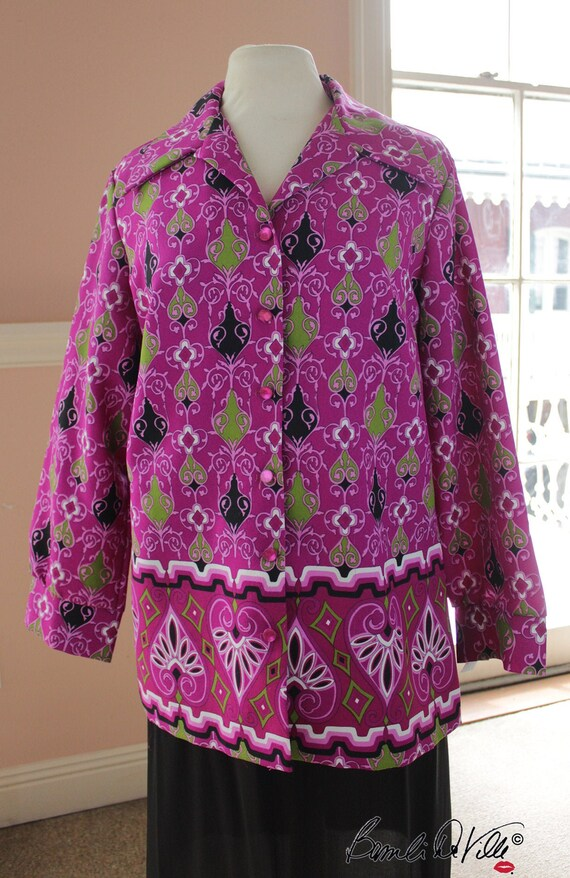 70s Psychedellic Blouse Large