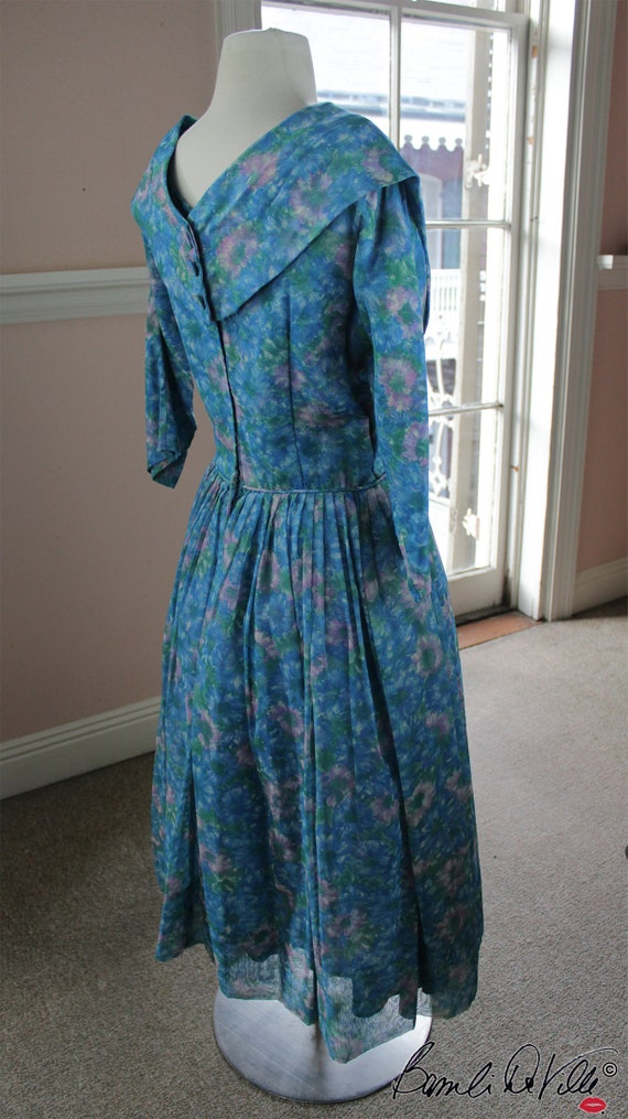 Chiffon Tulle 50s Party Dress Vintage - image 3