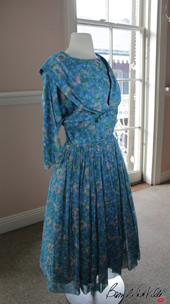 Chiffon Tulle 50s Party Dress Vintage - image 4