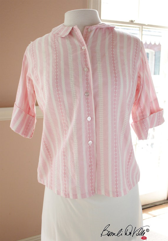 Pink 60s  Blouse Peter Pan Collar