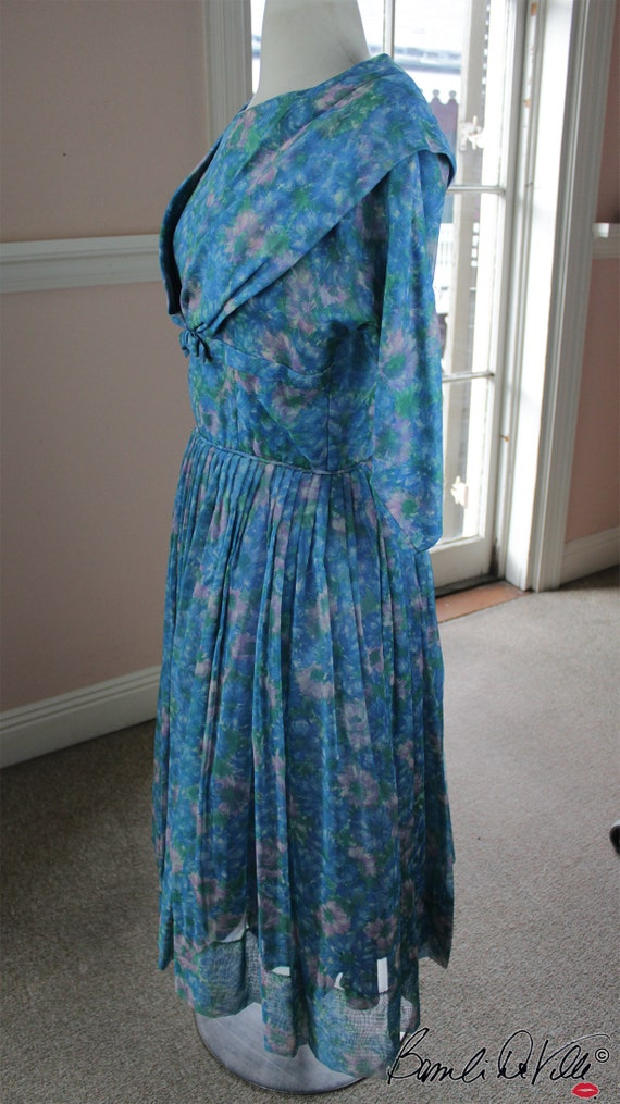 Chiffon Tulle 50s Party Dress Vintage - image 1