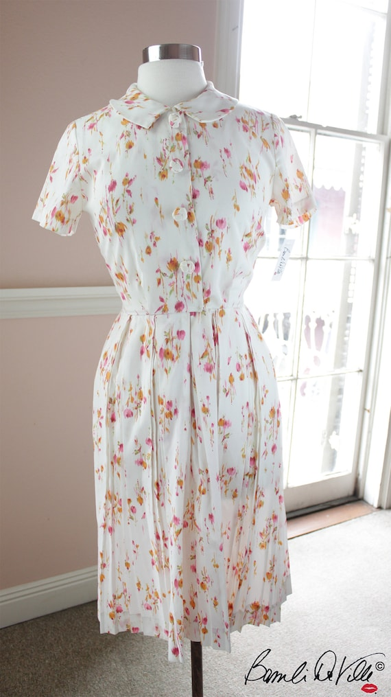 50s Floral Print Shirt Dress