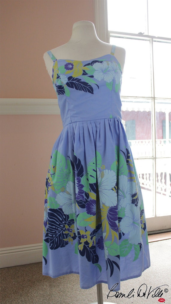 Vintage 70s Blue Floral Sundress
