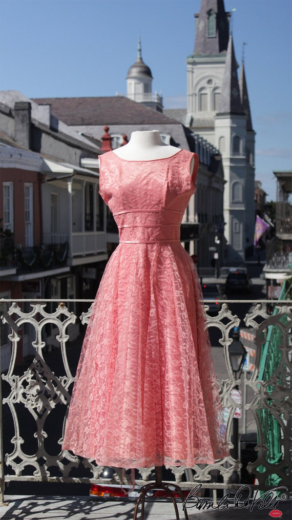 50s Peach Party Dress