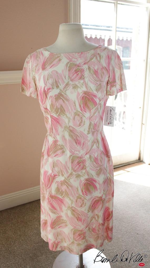 Mod Pink Floral 50s 60s