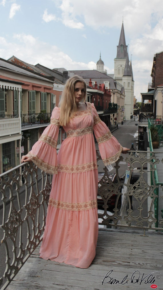 70s Peasant Hippie Boho Vintage Dress Gypset