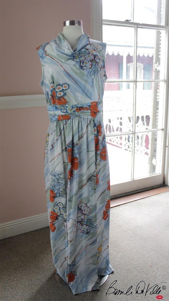 70s Orange Poppy Print Maxi Dress