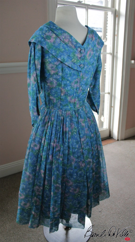 Chiffon Tulle 50s Party Dress Vintage - image 2