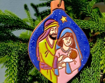 Holy Family Ornament Souvenirs Hand Crafted Ornament|Red Clay Decor Ornaments Gift Handmade Ceramic Clay Art