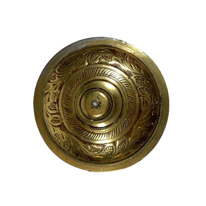 Jewellery  Trinket Box Boho Bohemian Eclectic Decor | Indian Solid Brass Candy Pot Etched Floral Pattern