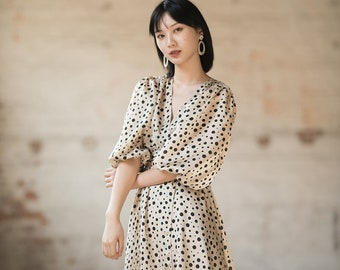 Women Flare Dress, Irregular Polka Dot Summer Dress with Puffed sleeves, V-neck, Half Long Sleeves