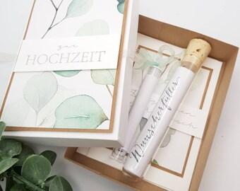 Money gift wedding, money gift, gift box, to the wedding, wedding, voucher, eucalyptus, voucher packaging