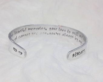 Custom Engraving Sisters Gift Memorial Cuff Metal Stamped Bracelet Cuff Sisters Memorial Bracelet