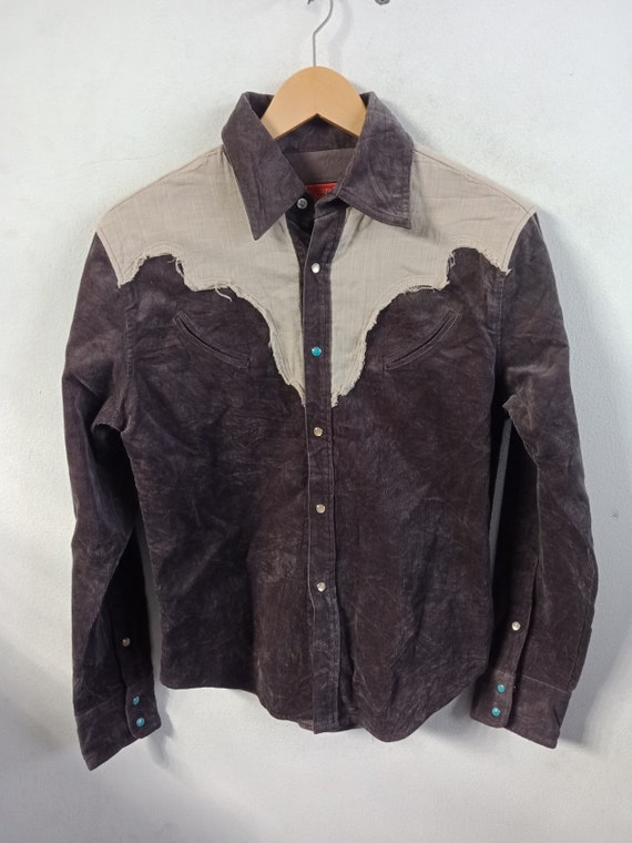 80S Indian Motorcycle Corduroy Cowboy Shirt