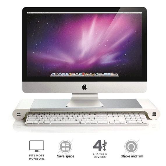 Monitor Stand Speaker TV PC Laptop Computer Screen Riser Desk Storage white UK