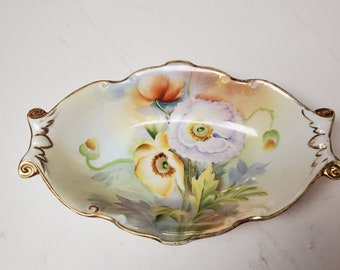 Jewelry Small Handmade Bowl for Your RINGS Brightly Hand Painted Bird Flowers Leaves Special Baubles Ceramic TRINKET DISH