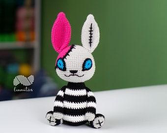 Halloween Crochet Rabbit Rotating Head Amigurumi Pattern PDF