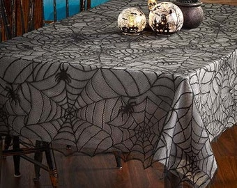 7 Foot Gothic Style Red Skulls Vines and Roses Decorative Halloween Tablecloth