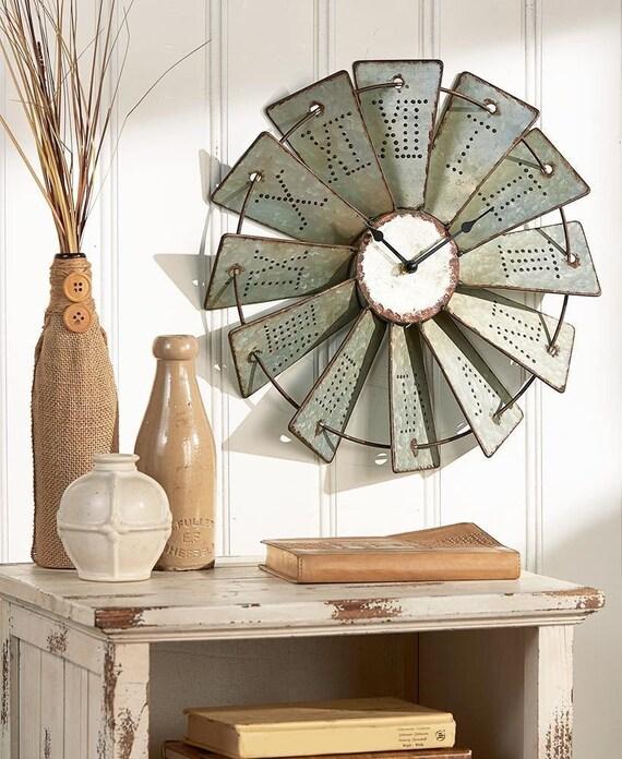 Metal Windmill Wall Clock, Farmhouse Wall Decor, Windmill Clock, Windmill Wall Art