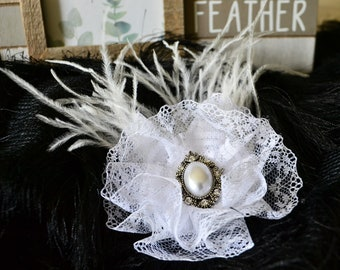 Bridal and Kids Hairpiece White Feather Hairpin Lace Pearl Wedding Beads and Hair Decor Handmade Vintage Accessory Baby girl birthday gift