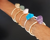 Raw stone healing crystal ring for women, adjustable dainty wire wrapped natural gemstone amethyst, citrine, quartz, jade turquoise, agate