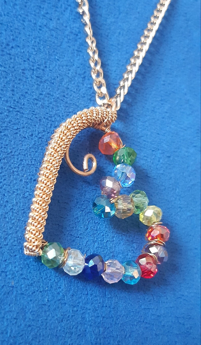 Heart Pendant with Czech Crystals Handmade Jewelry Gift for Woman Wire Wrapped Gold Plated