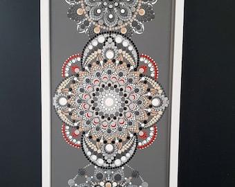 "Punktmalerei - ""Graubunt"", LW 44, ca. 20 x 50 cm, framed"