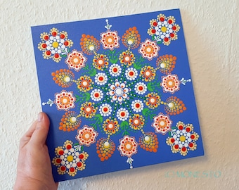 "Point painting - ""Mandala - Spring"", LW 43, cardboard, approx. 25 x 25 cm"