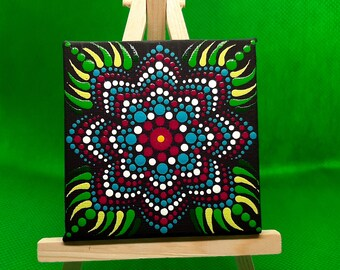 Mandala, dot painting miniature canvas