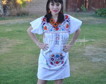ethnic dress Mexican dress mexican floral dress embroidered dress with silk thread Wedding hand embroidered mexican dress