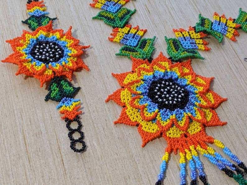 Large flower Huichol  necklace handmade boho jewelry glass beads necklace for women native american long necklace