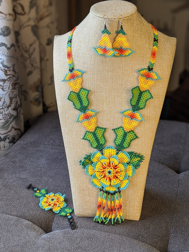 glass beads necklace for women boho jewelry Large flower Huichol  necklace native american long necklace handmade