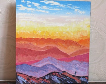 Hand-painted abstract greeting card OOAK original C-51 Zion II